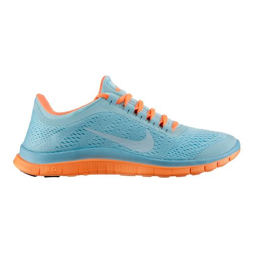 Womens Nike Free 3.0 v5 Running Shoe - Blue/Orange 8.5
