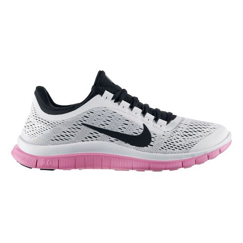Womens Nike Free 3.0 v5 Running Shoe - White/Pink 7