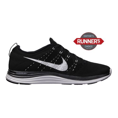 Mens Nike Flyknit Lunar1+ Running Shoe - Black/White 13