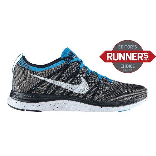 Mens Nike Flyknit Lunar1+ Running Shoe - Charcoal/Turquoise 9.5