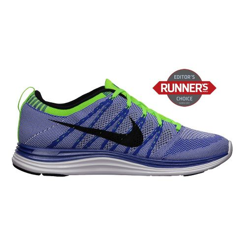 Mens Nike Flyknit Lunar1+ Running Shoe - Royal/Volt 8.5