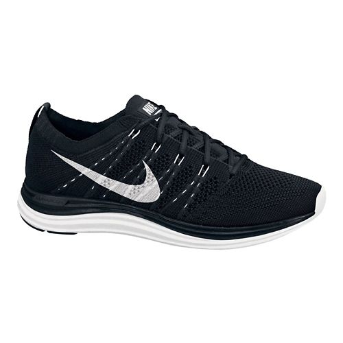 Womens Nike Flyknit Lunar1+ Running Shoe - Black/White 11