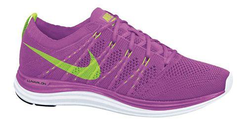 Womens Nike Flyknit Lunar1+ Running Shoe - Pink/Lime 11