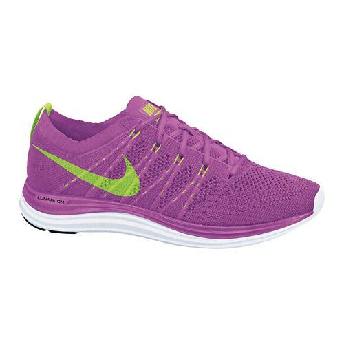 Womens Nike Flyknit Lunar1+ Running Shoe - Pink/Lime 7.5