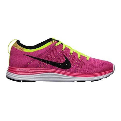 Womens Nike Flyknit Lunar1+ Running Shoe - Pink/Volt 9.5