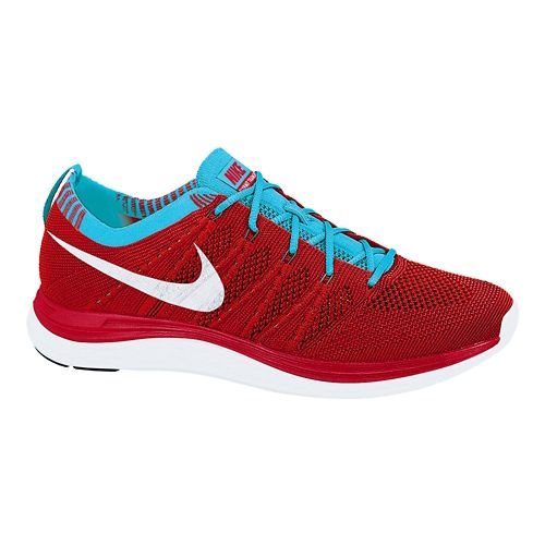 Womens Nike Flyknit Lunar1+ Running Shoe - Red/Blue 7.5
