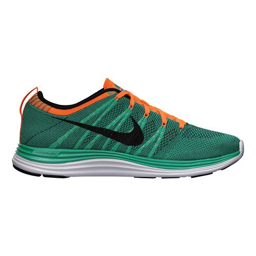 Womens Nike Flyknit Lunar1+ Running Shoe - Teal/Orange 6.5