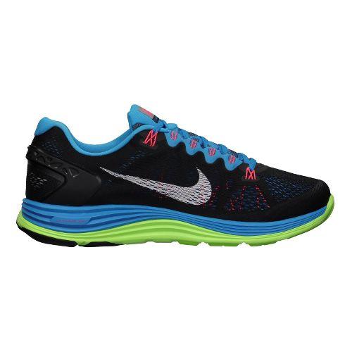 Mens Nike LunarGlide+ 5 Running Shoe - Black/Blue 9
