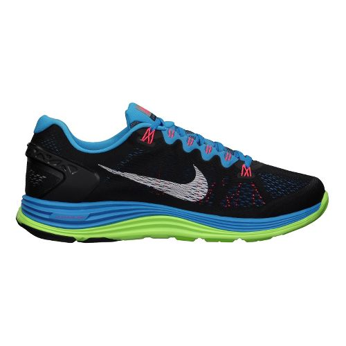 Mens Nike LunarGlide+ 5 Running Shoe - Black/Blue 9.5