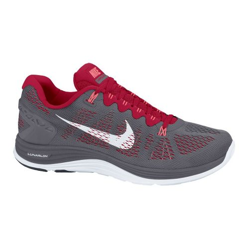 Mens Nike LunarGlide+ 5 Running Shoe - Grey/Red 9.5