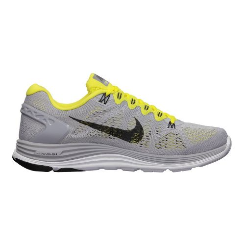 Mens Nike LunarGlide+ 5 Running Shoe - Grey/Yellow 8.5