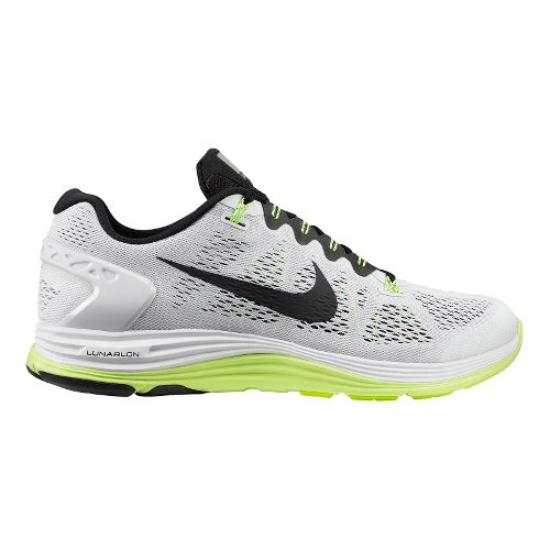 Mens Nike LunarGlide+ 5 Running Shoe - White/Volt 10