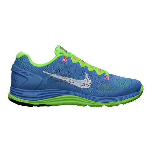 Womens Nike LunarGlide+ 5 Running Shoe - Blue/Lime 7