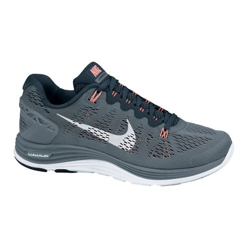 Womens Nike LunarGlide+ 5 Running Shoe - Grey/Navy 10