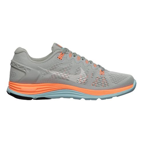 Womens Nike LunarGlide+ 5 Running Shoe - Grey/Orange 8.5