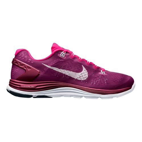 Womens Nike LunarGlide+ 5 Running Shoe - Raspberry 7