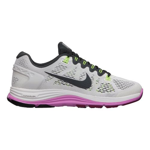 Womens Nike LunarGlide+ 5 Running Shoe - White/Pink 11