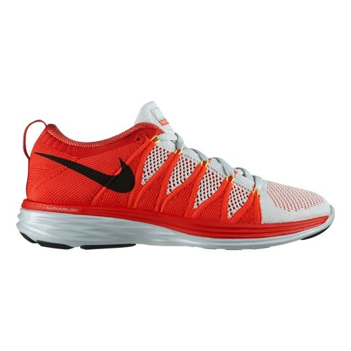 Mens Nike Flyknit Lunar2 Running Shoe - Bright Crimson 11.5