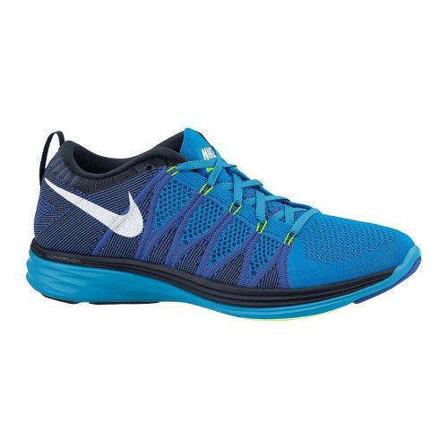 Mens Nike Flyknit Lunar2 Running Shoe - Blue/Black 8