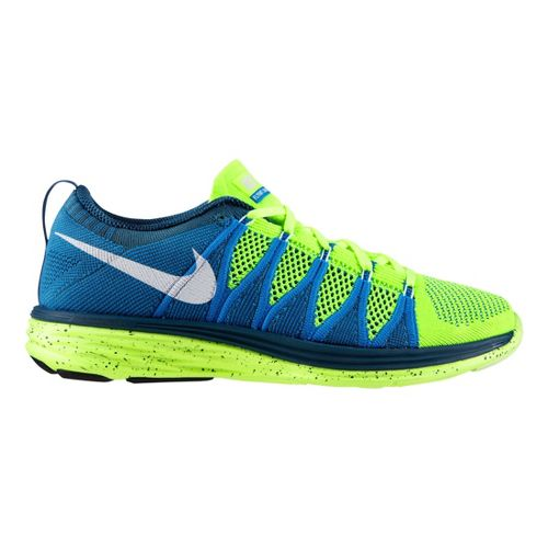 Mens Nike Flyknit Lunar2 Running Shoe - Blue/Volt 10.5