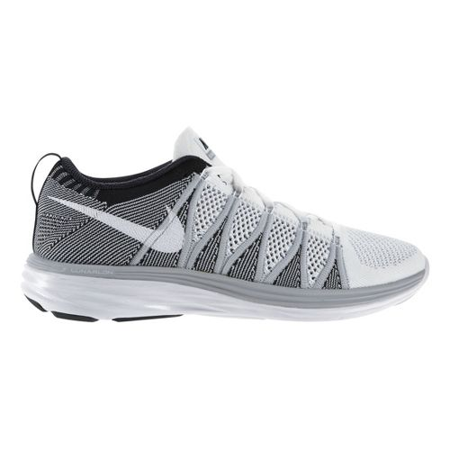 Mens Nike Flyknit Lunar2 Running Shoe - Grey/White 11