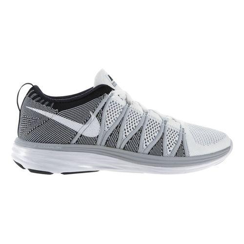 Mens Nike Flyknit Lunar2 Running Shoe - Grey/White 14
