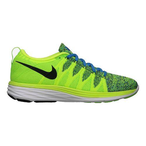 Mens Nike Flyknit Lunar2 Running Shoe - Volt 12.5