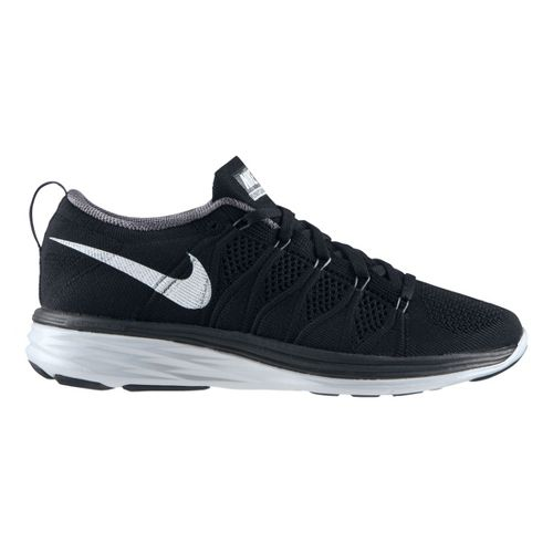 Womens Nike Flyknit Lunar2 Running Shoe - Black/Grey 7