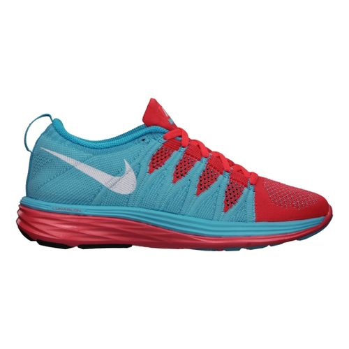 Womens Nike Flyknit Lunar2 Running Shoe - Blue/Bright Crimson 10.5