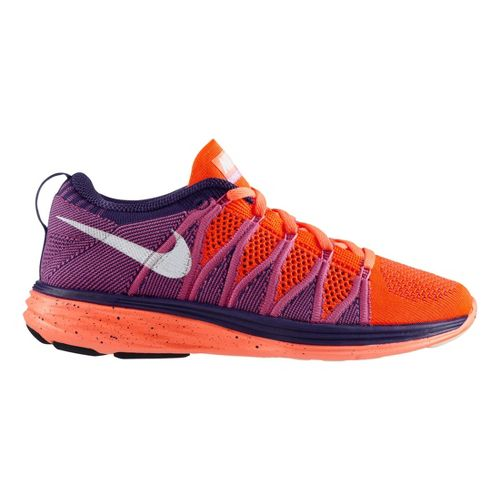 Womens Nike Flyknit Lunar2 Running Shoe - Orange/Purple 6