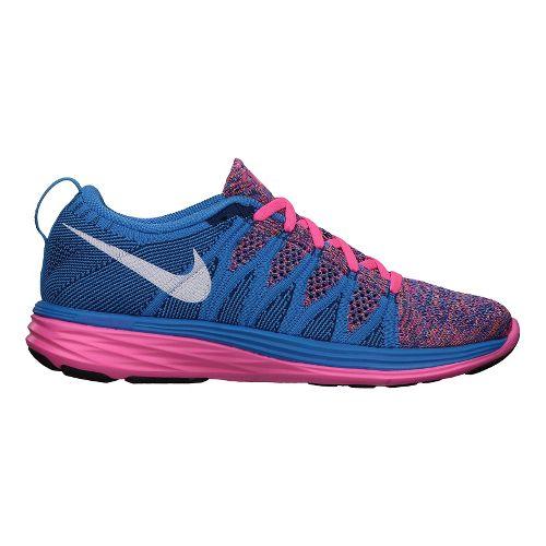 Womens Nike Flyknit Lunar2 Running Shoe - Pink/Blue 10