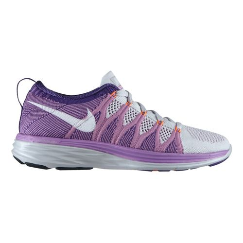 Womens Nike Flyknit Lunar2 Running Shoe - Purple/Grey 9