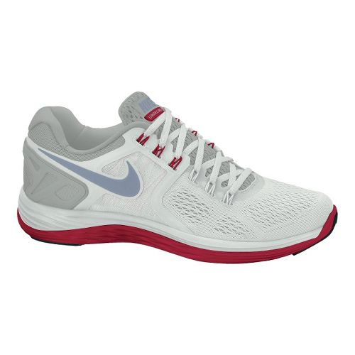 Mens Nike LunarEclipse 4 Running Shoe - Light Grey/Red 12.5