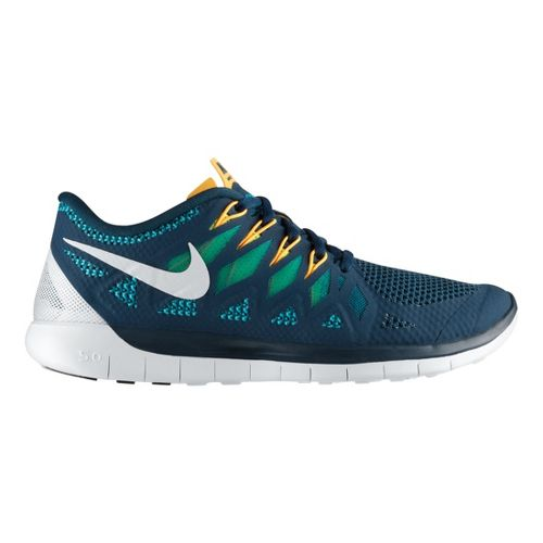 Mens Nike Free 5.0 Running Shoe - Navy/Volt 12.5