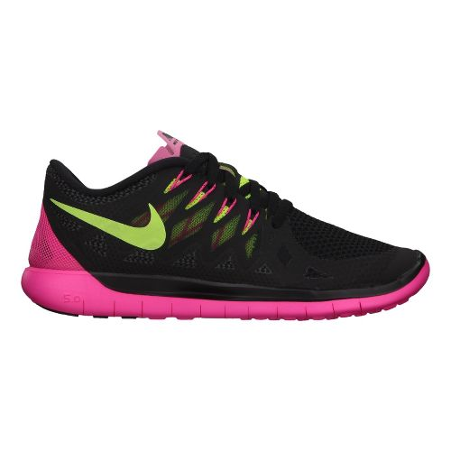 Womens Nike Free 5.0 Running Shoe - Black/Pink 10.5