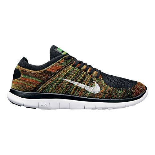 Mens Nike Free 4.0 Flyknit Running Shoe - Black/Orange 9