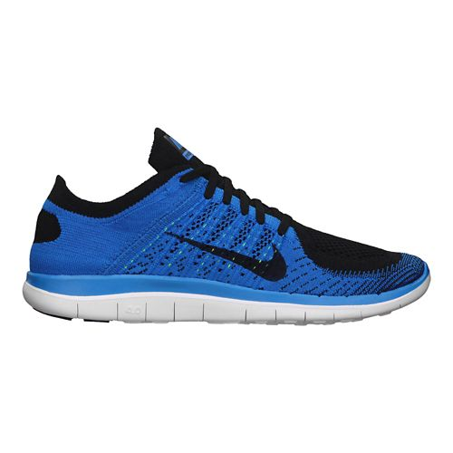 Mens Nike Free 4.0 Flyknit Running Shoe - Blue 10.5