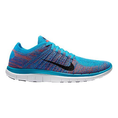 Mens Nike Free 4.0 Flyknit Running Shoe - Blue/Bright Crimson 10