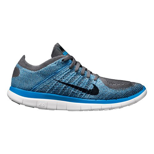 Mens Nike Free 4.0 Flyknit Running Shoe - Blue/Grey 10.5