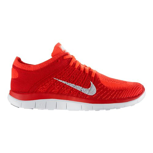 Mens Nike Free 4.0 Flyknit Running Shoe - Red 11.5