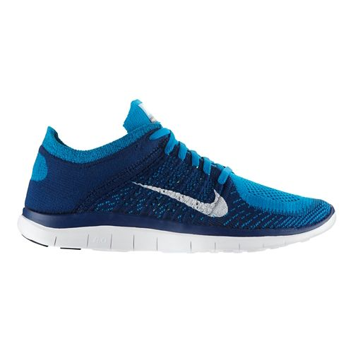 Mens Nike Free 4.0 Flyknit Running Shoe - Turquoise/Blue 11.5