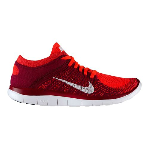 Womens Nike Free 4.0 Flyknit Running Shoe - Bright Crimson/Raspberry 10.5