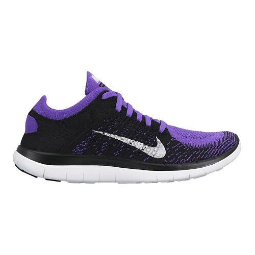 Womens Nike Free 4.0 Flyknit Running Shoe - Black/Grape 7.5