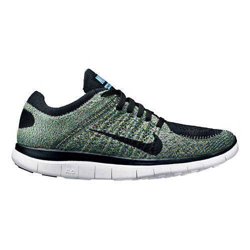 Womens Nike Free 4.0 Flyknit Running Shoe - Black/Multi 10.5