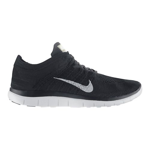 Womens Nike Free 4.0 Flyknit Running Shoe - Black/White 11