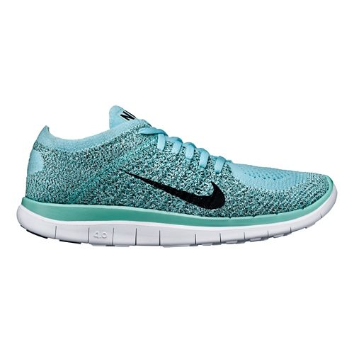Womens Nike Free 4.0 Flyknit Running Shoe - Blue 6.5