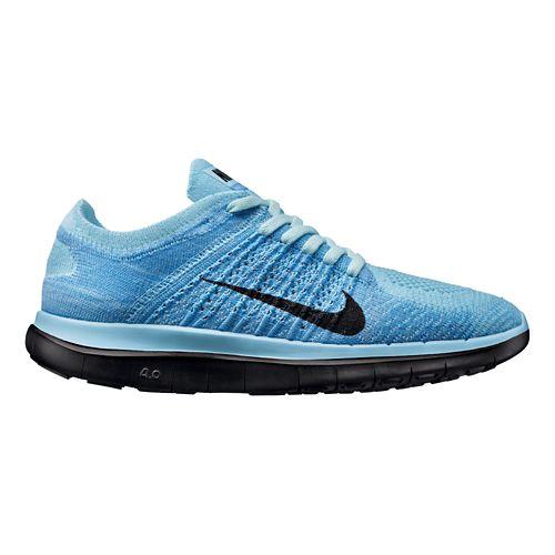 Womens Nike Free 4.0 Flyknit Running Shoe - Blue/Black 10.5