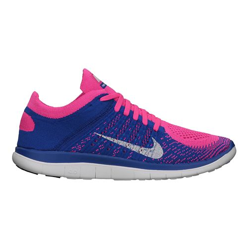 Womens Nike Free 4.0 Flyknit Running Shoe - Blue/Pink 9