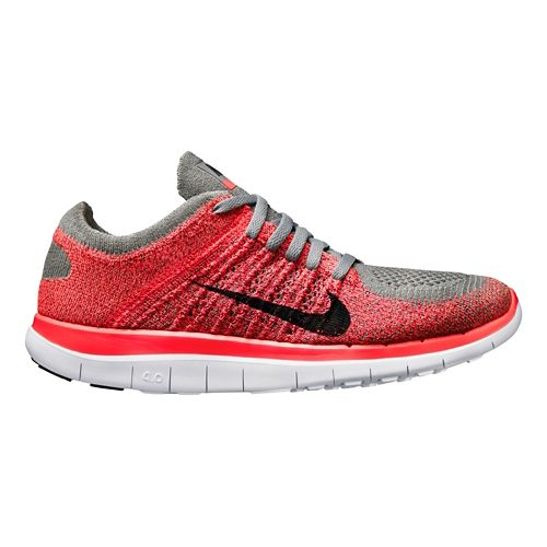 Womens Nike Free 4.0 Flyknit Running Shoe - Charcoal/Pink 10.5