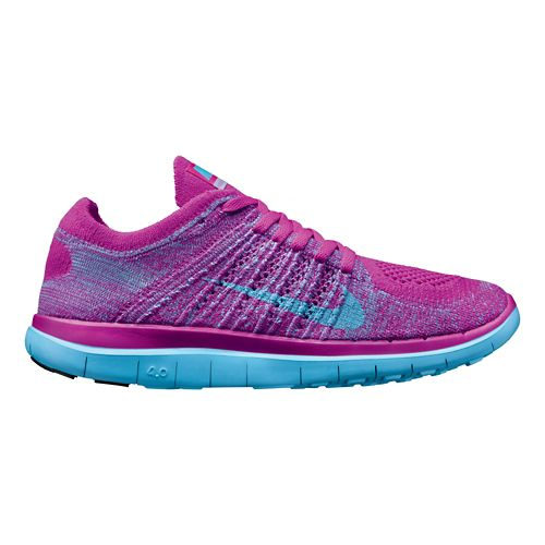 Womens Nike Free 4.0 Flyknit Running Shoe - Fuschia/Blue 7.5